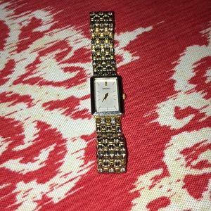 Rectangular Seiko dress watch dual tone